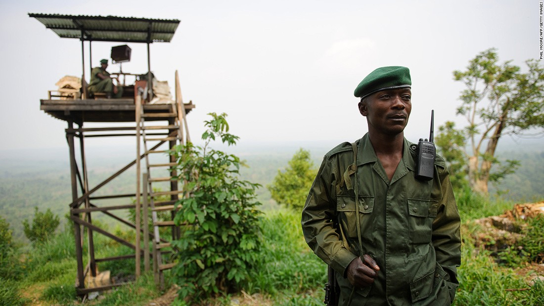 A Virunga National Park ranger stands at an observation post at Rumangabo, east at the edge of the park.
