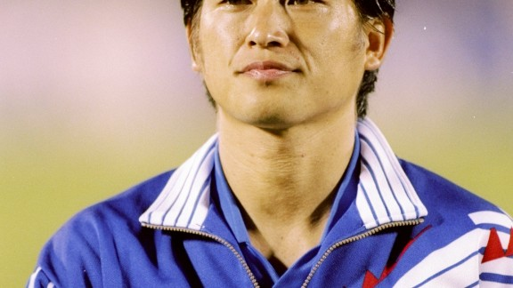 "Here is a fresh-faced 27-year-old ""King Kazu"" lining up for Japan before a game against Malaysia at  the Asian Games in 1994."