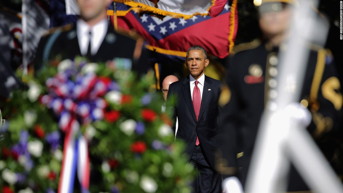President Barack Obama participates in a full honor wreath-laying ceremony at the Tomb of the Unknown Soldier in Arlington.