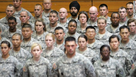 Maj. Kamal Singh Kalsi wears a turban at his basic training graduation in 2010 at Fort Sam Houston.
