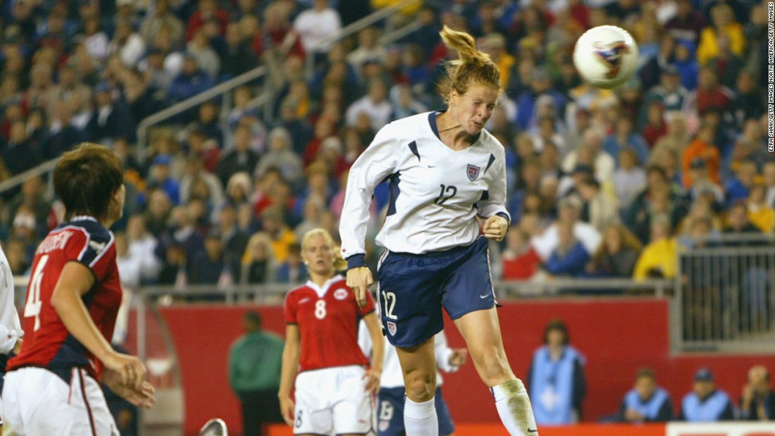 Cindy Parlow Cone grew up playing soccer. She played her first competitive match for the U.S. women's national team aged 17.
