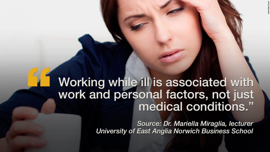 "Despite the commonly known viral consequences of working while sick, many people still do it, and researchers wanted to know why. After mining data from 61 previous studies, Dr. Mariella Miraglia, a lecturer from the University of East Anglia Norwich Business School, believes that people who show up to the workplace in spite of poor health conditions may do so because of the demands of their role, perceived discrimination if absent, and the perceived impact of their work on clients, students or patients. But at the same time, high job satisfaction and a strong sense of commitment to an organization were also motivators for the sick to show up at the office. The <a href=""http://www.eurekalert.org/pub_releases/2015-11/uoea-rrm110515.php"" target=""_blank"">studies included </a>more than 175,960 participants and also concluded that if an illness is not debilitating or contagious then attending work while under the weather may be positive and self-affirming for people who suffer from chronic illnesses such as migraines or depression. -- Viola Lanier <br /><em><br />Click through the gallery to see additional recent studies.</em>"