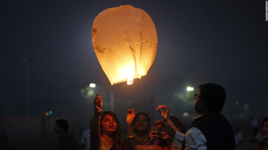 A sky lantern is released in Mumbai on November 11.