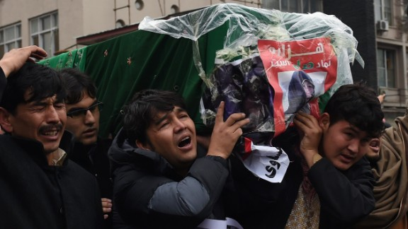 Protesters in November march with coffins of  decapitated Hazaras in Kabul.