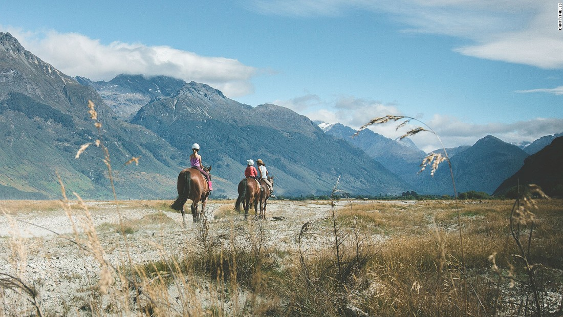 "Spectacular scenery on New Zealand's South Island is best explored on horseback. Dart Stables in Glenorchy offers a range of treks and rides based around ""The Lord of the Rings"" film trilogy."