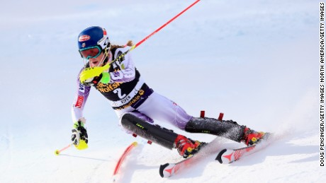 ASPEN, CO - NOVEMBER 30:  Mikaela Shiffrin of the United States skis in the first run as she went on to finish in fifth place in the ladies slalom at the 2014 Audi FIS Ski World Cup at the Nature Valley Aspen Winternational at Aspen Mountain on November 30, 2014 in Aspen, Colorado.  (Photo by Doug Pensinger/Getty Images)