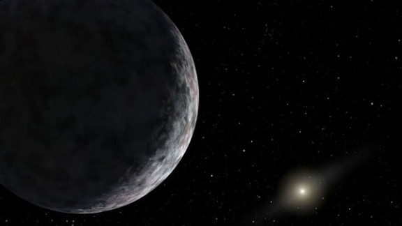 """This artist's image of """"dwarf planet"""" V774104 is the most distant object discovered in the solar system so far"""