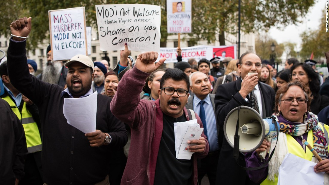 Protesters gathered outside Downing Street to protest Modi's visit.
