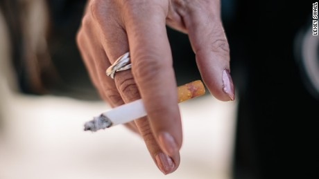 Smoking helps calm Maria, who is recovering from years of post-traumatic stress, eating disorders and alcoholism.