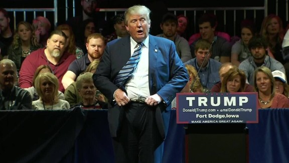 """Trump flips his belt buckle while slamming fellow Republican presidential candidate Ben Carson during <a href=""""http://www.cnn.com/2015/11/12/politics/donald-trump-ben-carson-iowa-belt-stupid/"""">a 95-minute tirade</a> on November 12. Trump mocked Carson's story that as a boy, he once tried but failed to stab someone only to have the knife broken by a belt buckle. """"So I have a belt: Somebody hits me with a belt, it's going in because the belt moves this way. It moves this way, it moves that way,"""" Trump told the crowd in Fort Dodge, Iowa."""