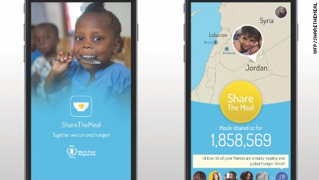 The ShareTheMeal app can be downloaded on iOS and Android smartphones