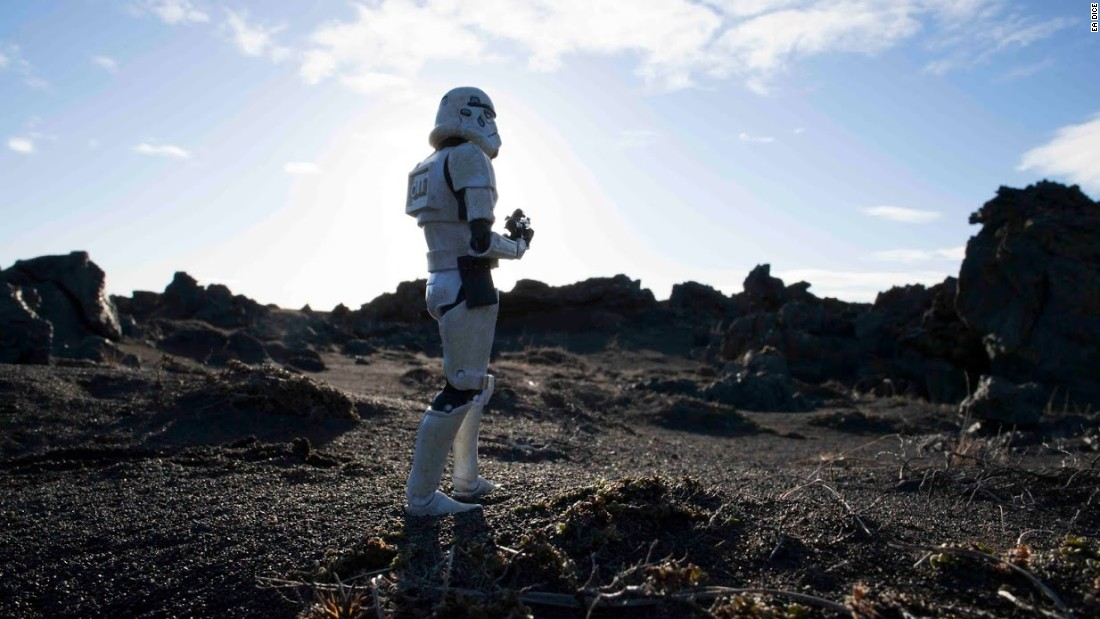 A lone Stormtrooper stands guard on the lava planet Sullust, unaware of the dangers around him.