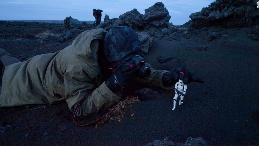 DICE concept artist Anton Grandert has some fun on location in Iceland, using figures and the actual terrain to understand how a character would look on the lava planet Sullust.