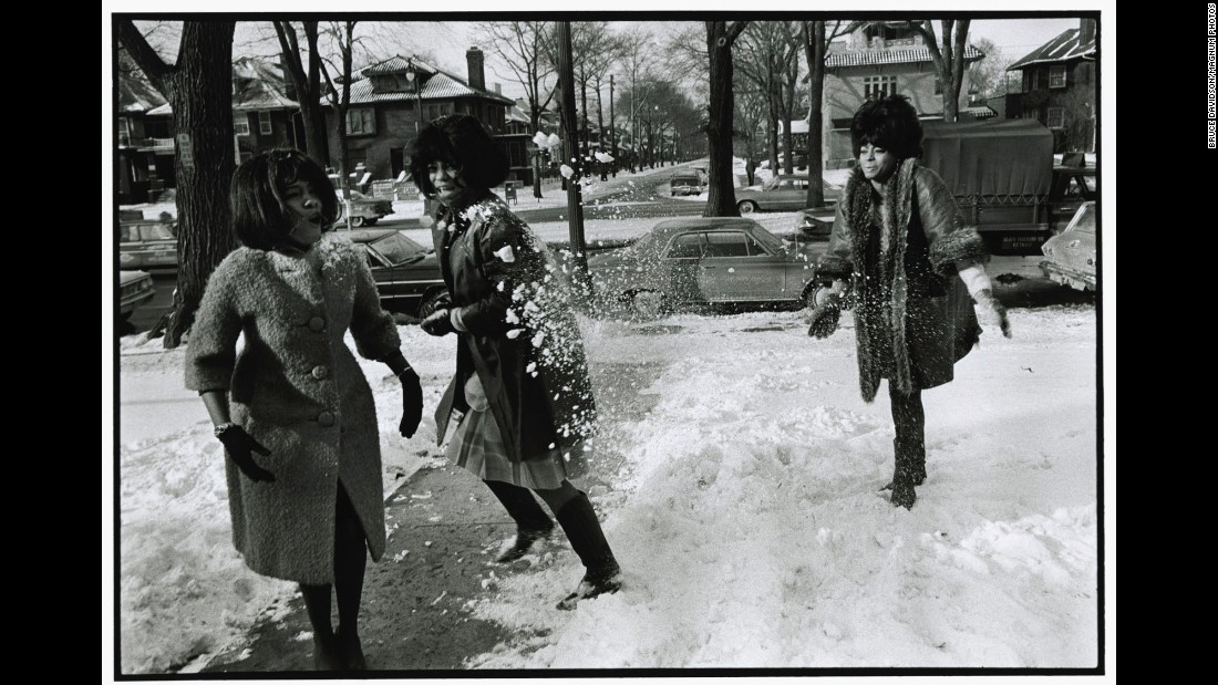 """I photographed them rehearsing for a future concert ... and then they spontaneously had a snowball fight,"" Davidson said about this photo taken in Detroit. ""They must have liked me because they didn't throw any snowballs at me."" Before they were the Supremes, the teenagers called themselves the Primettes, performing locally in Detroit. Ross became acquainted with Smokey Robinson, who arranged the group's first audition for Motown President Berry Gordy. In 1961, the group signed to Motown and Gordy suggested they change their name to the Supremes."