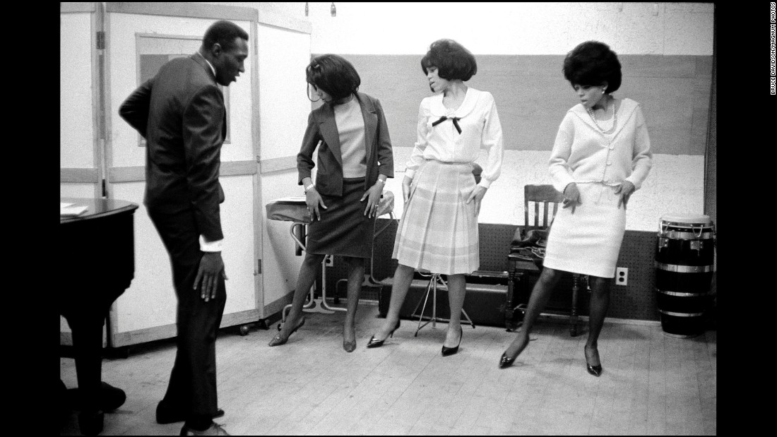 "The Supremes rehearse at Motown's studios in Detroit. The group performed at various venues and nightclubs both in and out of the United States. It also appeared on popular shows like ""Shindig,"" ""Hullabaloo,"" and ""The Ed Sullivan Show."""