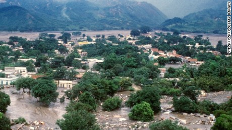 Aerial view dated 18 November 1985 of the town of Armero, 130 kms west of Bogota, submerged by floods after the long-dormant Nevado del Ruiz volcano, quite since 1845, erupted spewing rocks, water, mud and ash over sleeping towns killing 24,000 and erasing the town of Armero. (Photo credit should read STF/AFP/Getty Images)