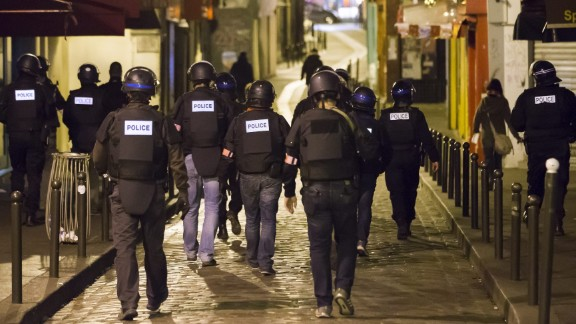 Police officers patrol Paris' Saint-German neighborhood on November 14.
