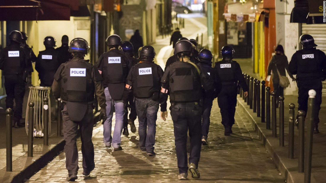 Police officers patrol Paris' Saint-German neighborhood on November 14.
