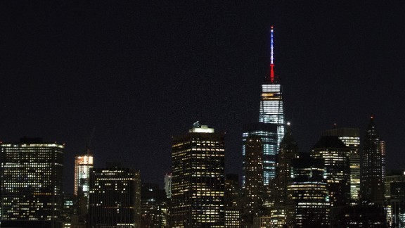 In New York, the antenna of One World Trade Center was lit on November 13.