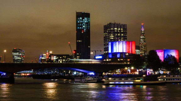 The Southbank Centre in London lights the cloudy sky on November 14.