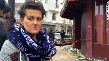 Alexandra Demian who survived the Paris terror attack on le Carillon on Nov 13 2015. Photo by Pete Wilkinson/CNN in Paris