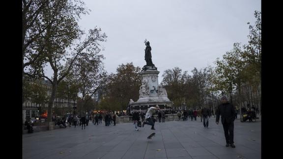 People gather on November 14 at the Place de la Republique square.