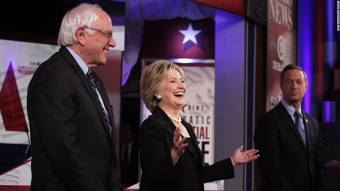 From left, Democratic presidential candidates Bernie Sanders, Hillary Clinton and Martin O'Malley prepare to debate at Drake University in Des Moines, Iowa, on Saturday, November 14. It was the party's second presidential debate.