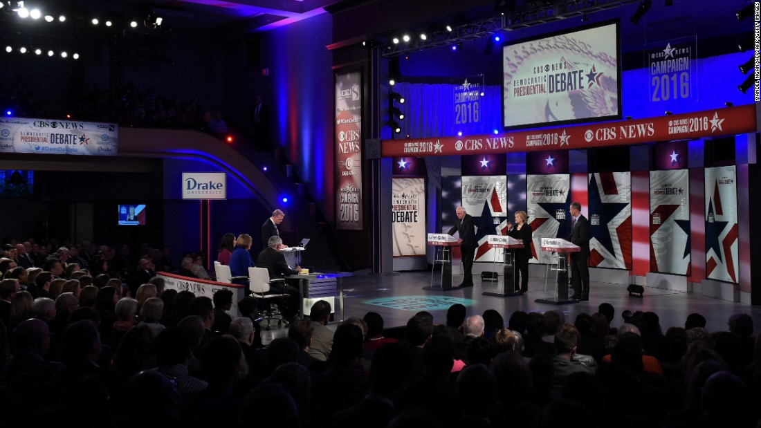 The debate took place in the Sheslow Auditorium of Drake University.