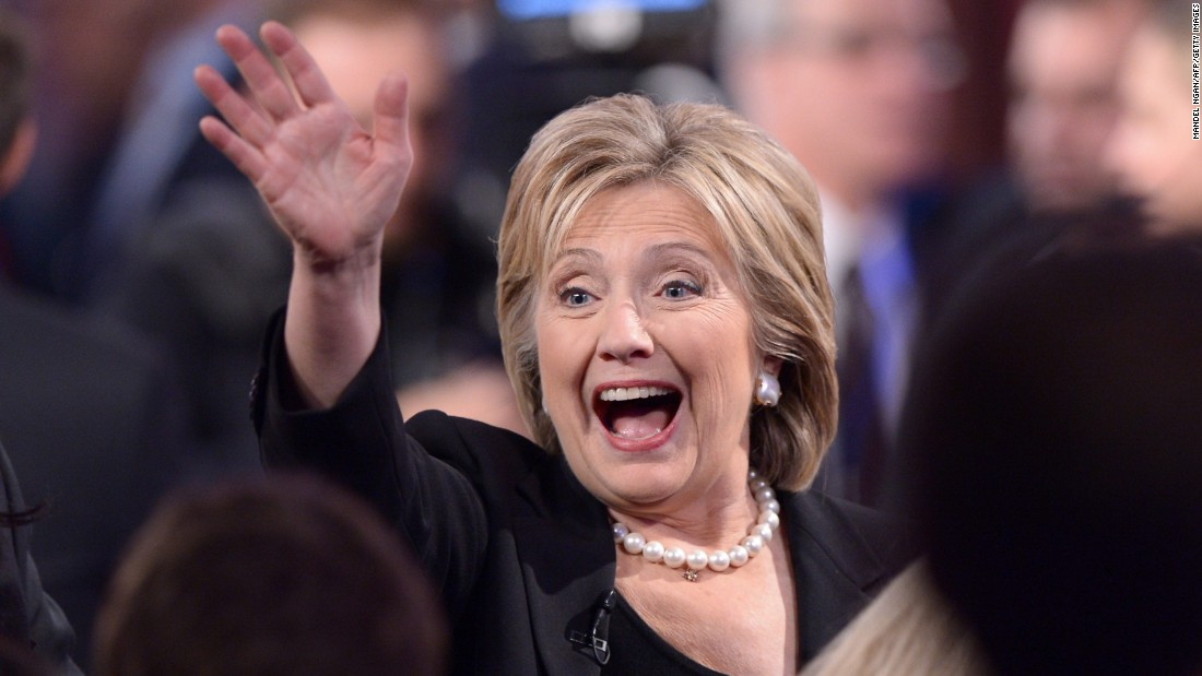 Clinton waves to supporters following the debate.