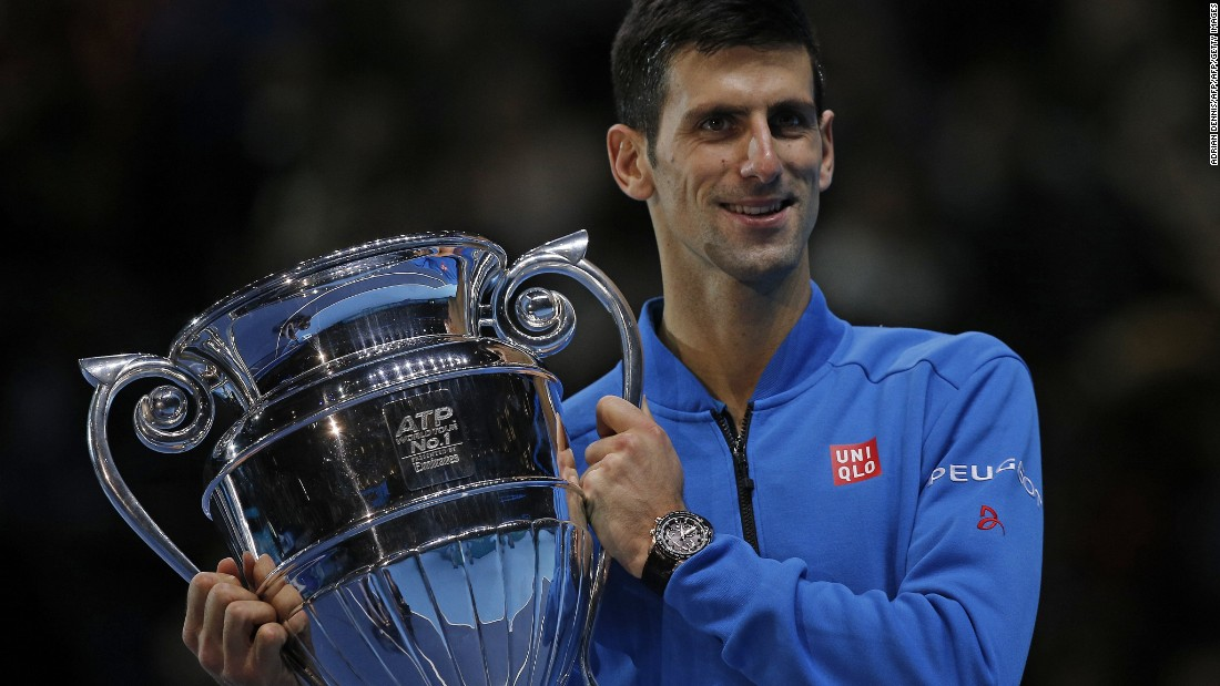 Djokovic ran out 6-1 6-1 victor with the result result ensuring he would end the year as World No 1. He received a trophy to mark the achievement on court after the match.