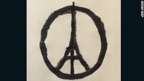 "Jean Jullien's ""Peace for Paris"" drawing has become a memorial symbol."