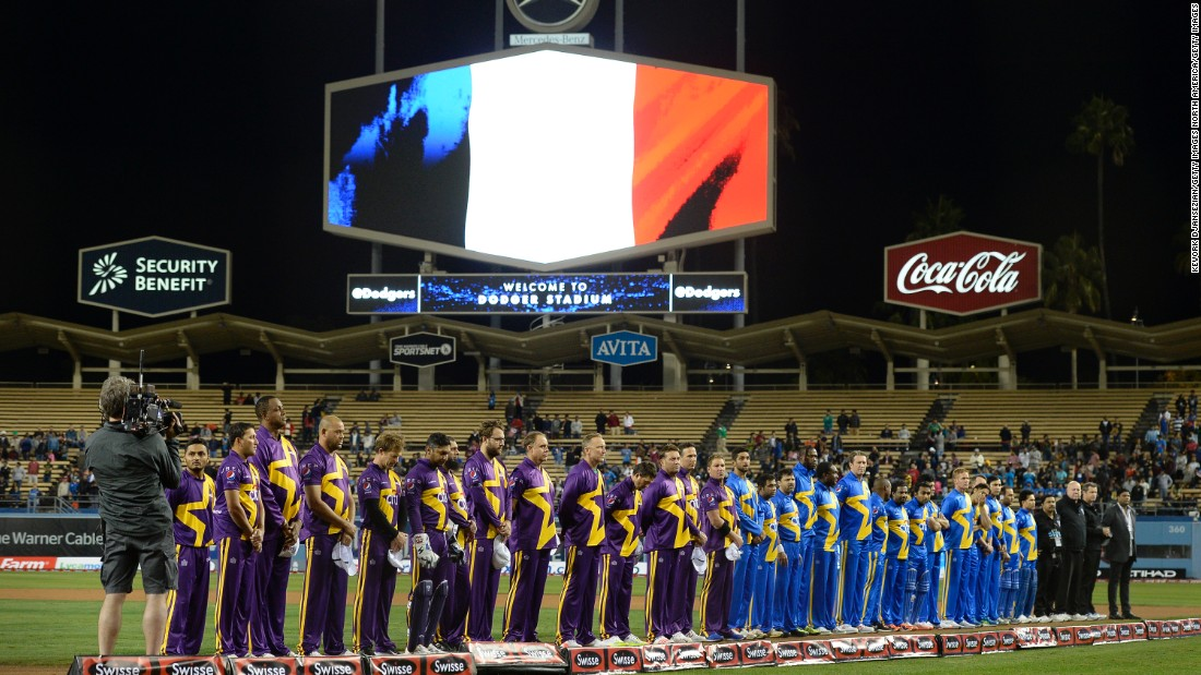 In Los Angeles, players taking part in the US tour of Cricket All-Stars Series featuring legends of the game Shane Warne Sachin Tendulkar bowed their heads at Dodger Stadium.