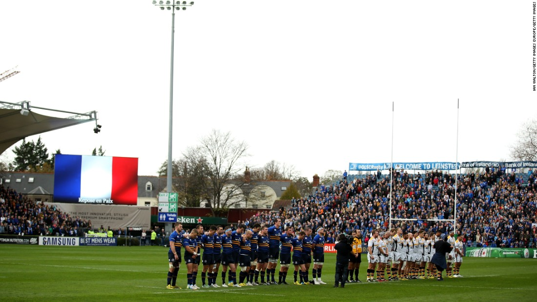 Players and officials reflect before the European Rugby Champions Cup match between Leinster Rugby and Wasps at the RDS Arena in Dublin, Ireland.