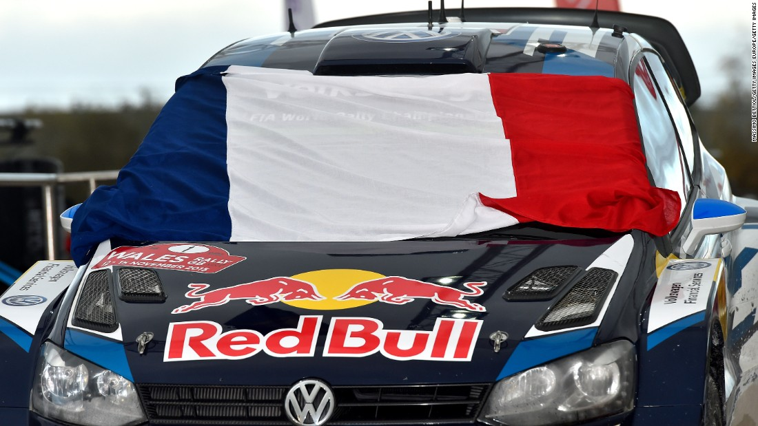 At the FIA World Rally Championship Great Britain in Deeside, Wales, The Volkswagen Polo car of French pair Sebastien Ogier and Julien Ingrassia displayed the French tricolor.