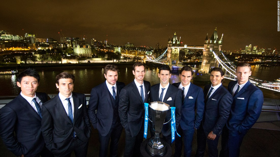 The elite eight in London, from left to right: Kei Nishikori, David Ferrer, Stan Wawrinka, Andy Murray, Novak Djokovic, Roger Federer, Rafael Nadal and Tomas Berdych.