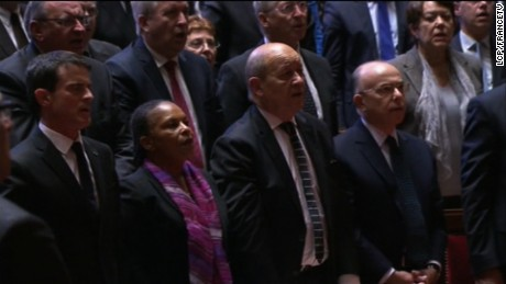 "French parliament sings the ""La Marseillaise"" following Francoise Hollande's address to the joint session of French Parliament just days after the Paris terror attacks killed over 100 people."