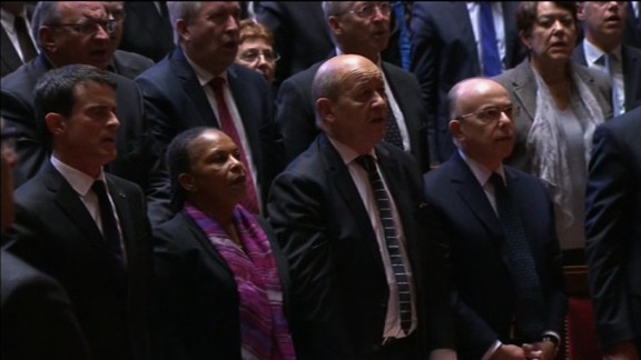 "French parliament sings the ""La Marseillaise"" following Francoise Hollande"