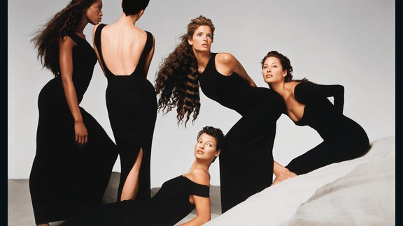 "Showcasing some of the most famous fashion faces of the '90s, this Versace advertisement by Richard Avedon featured the likes of Naomi Campbell, Kristen McMenamy, Linda Evangelista, Stephanie Seymour, and Christy Turlington. The image is said to have captured the epitome of the ""power-woman era"" which celebrated ""feminist energy"" and androgyny."