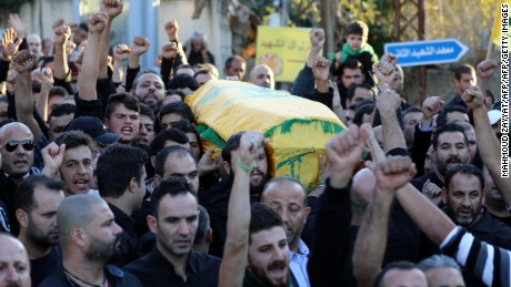Mourners chant slogans last week at the funeral for a man killed in the ISIS bombings in Beirut.