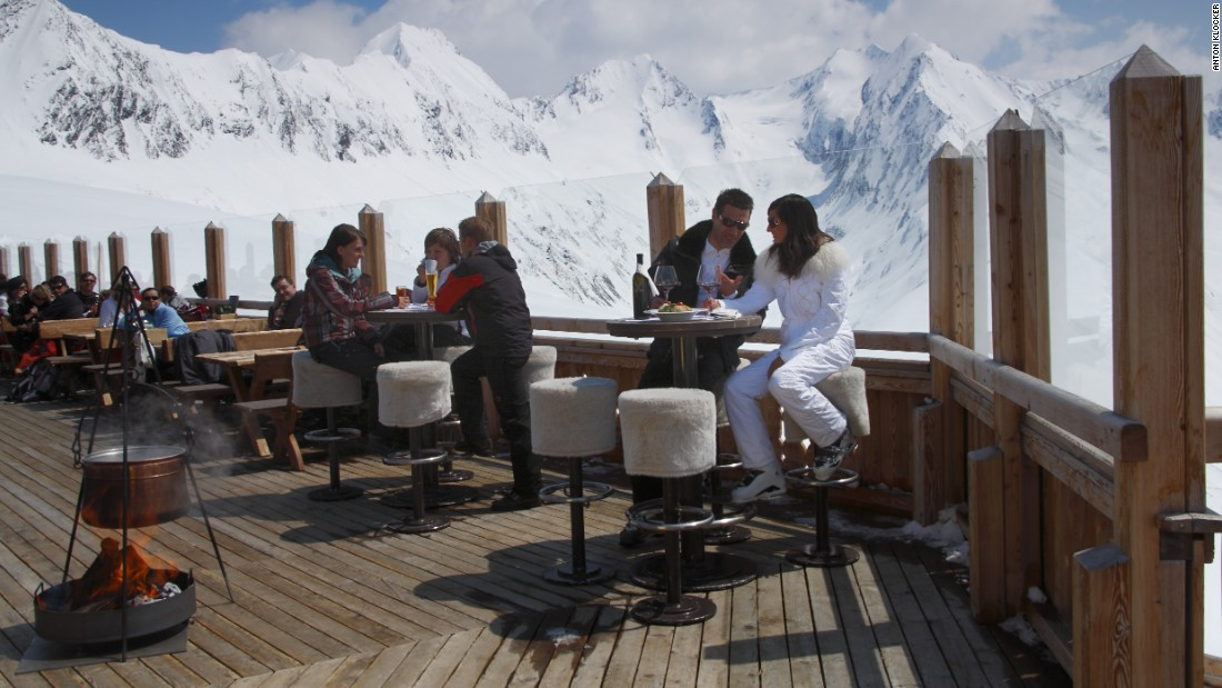 The stunning view from the terrace at the Hohe Mut Alm restaurant, Obergurgl.