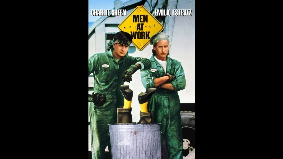 """After becoming one of the hottest young actors of the '80s, Sheen saw his star dim in the '90s. Here he is in a poster for """"Men at Work,"""" a minor comedy that starred him and brother Emilio Estevez as garbagemen who stumble on a nefarious plot."""