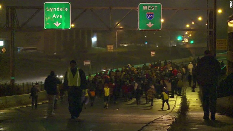 Demonstrators shut down Minneapolis interstate