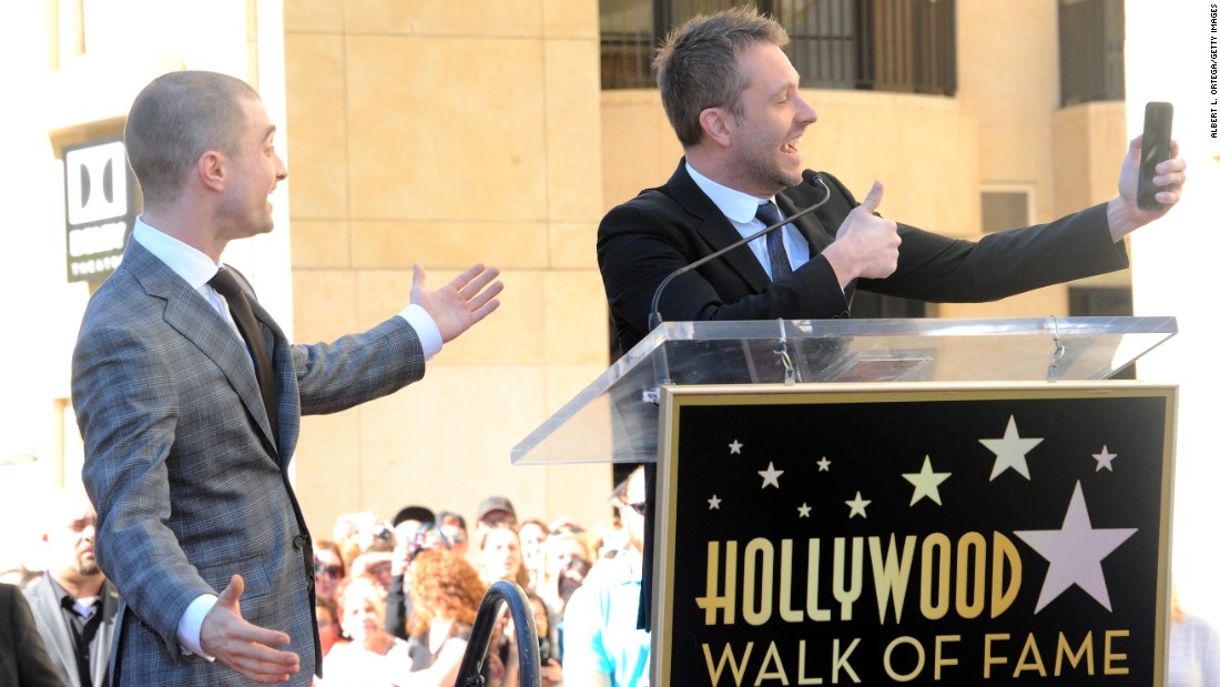 Television host Chris Hardwick takes a photo with actor Daniel Radcliffe, who was receiving a star on the Hollywood Walk of Fame on Thursday, November 12.