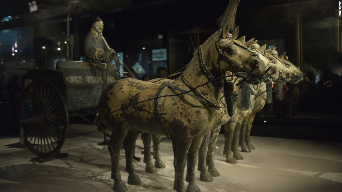 Near the Terra-cotta Army, Chinese archaeologists discovered hundreds of pits with buried funeral treasures. This bronze chariot excavated in 1980 highlights the metallurgical technology in the Qin Dynasty. It's believed it was meant to serve as the emperor's ride into the afterlife.