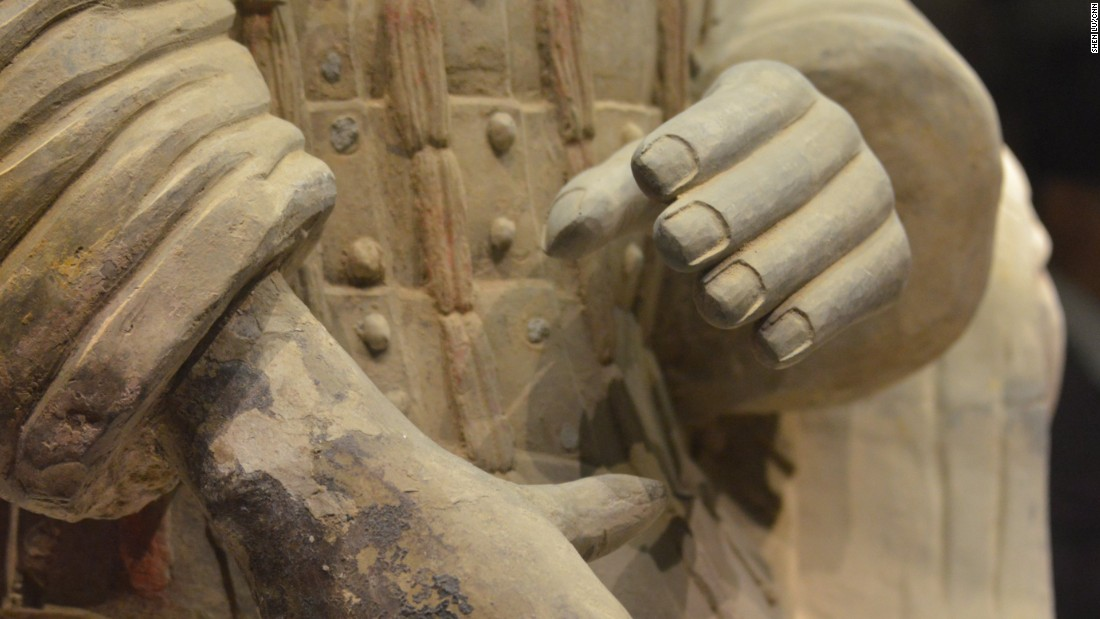 Details were painstakingly sculpted by ancient craftsmen -- even fingernails can be clearly seen.