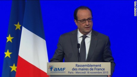 French President Francois Hollande speaking on November 18.