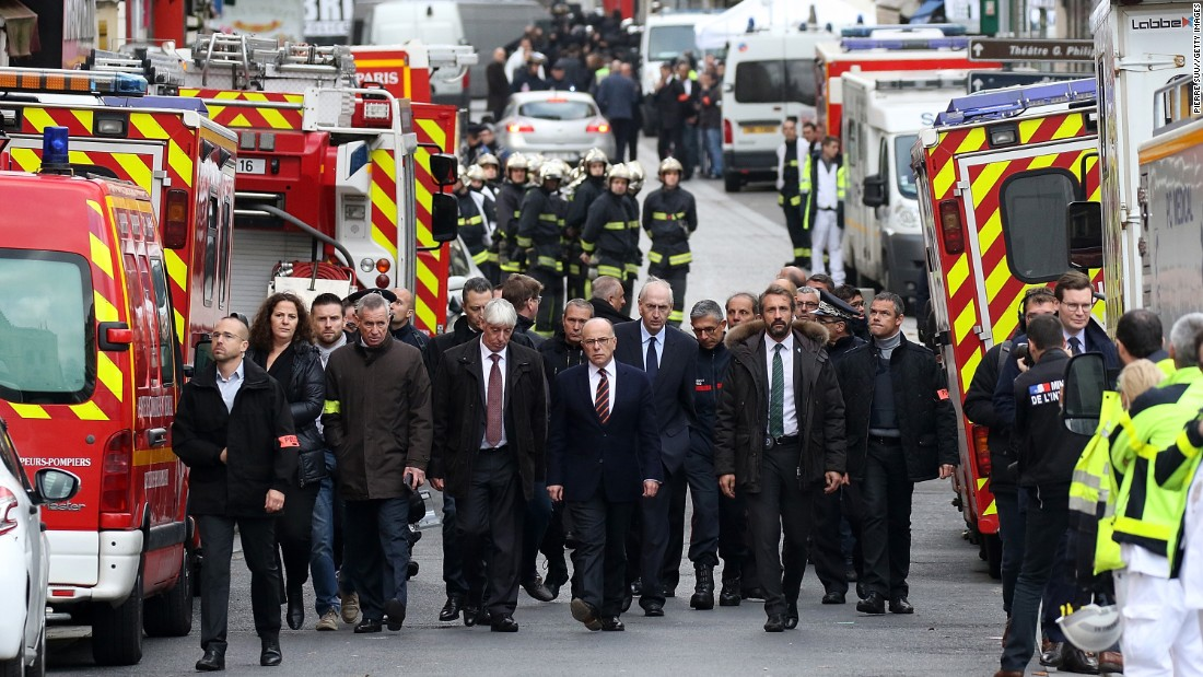 French Interior Minister Bernard Cazeneuve visits Saint-Denis during the raid on November 18.