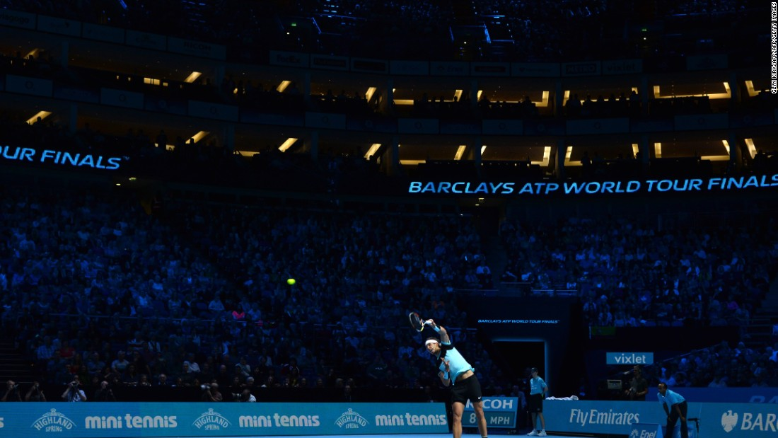 A large crowd at the O2 Arena took in the affair. Nadal will be playing in front of the fans again on Friday against pal David Ferrer knowing he has already made the semifinals.