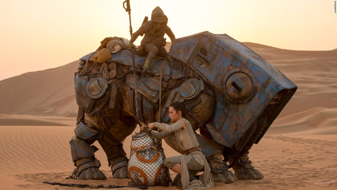 "And who put him there? Seriously, we need to know. We've fallen for the little guy, and this does not look okay to us. But let's stick to the picture here: Is new face Rey purchasing it from a scavenger? On a desert planet? Could it be that BB-8 is a droid some galactic villains are looking for? Wow, that sounds almost exactly like the beginning of ""Episode IV -- A New Hope."" Coincidence? We don't think so."