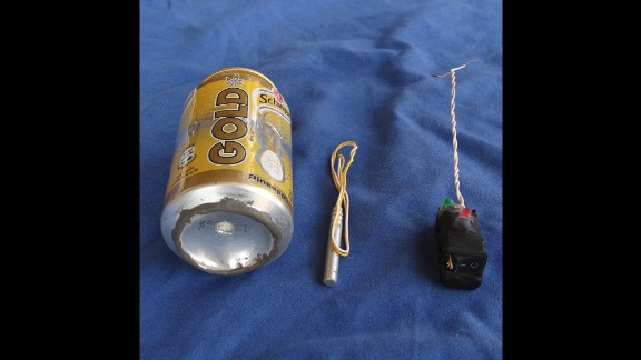 The militant group ISIS published this image of what it claims is the bomb that brought down Metrojet Flight 9268 on Saturday, October 31. The photograph shows a soft-drink can and two components that appear to be a detonator and a switch. Flight 9268 crashed in Egypt's Sinai Peninsula en route to the Russian city of St. Petersburg. All 224 people on board were killed.